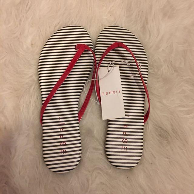 Esprit Navy & White Striped Sandals