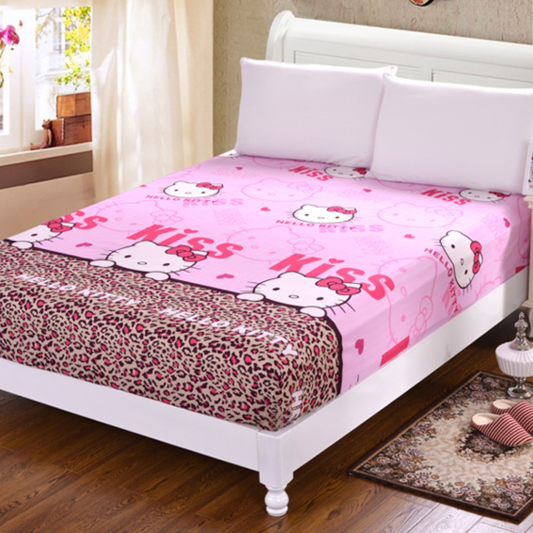 Fitted Bed Sheet Hello Kitty Single Queen King Size, Furniture, Beds U0026  Mattresses On Carousell