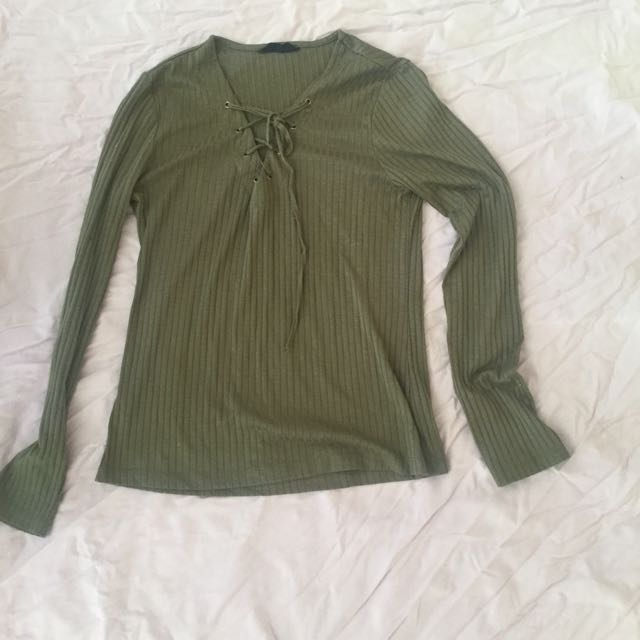 Forrest green tie up long shirt