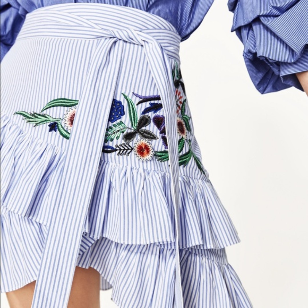 FREE POS Zara Inspired Mini Embroidered Skirt