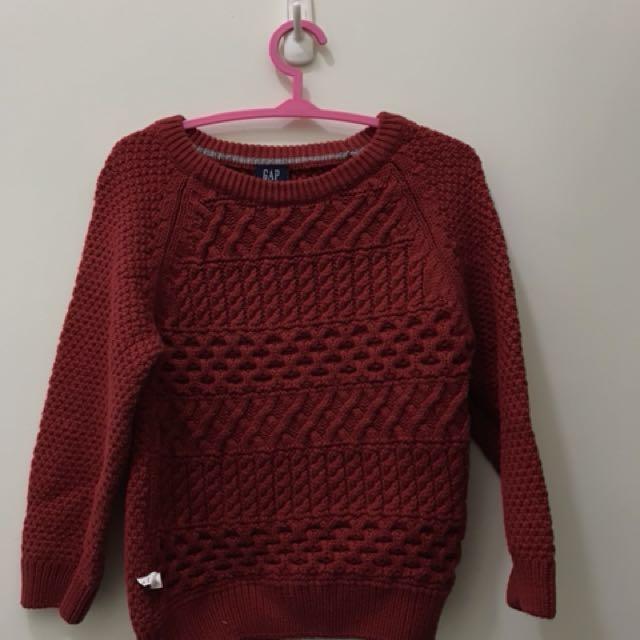 gap baby 紅色針織毛衣