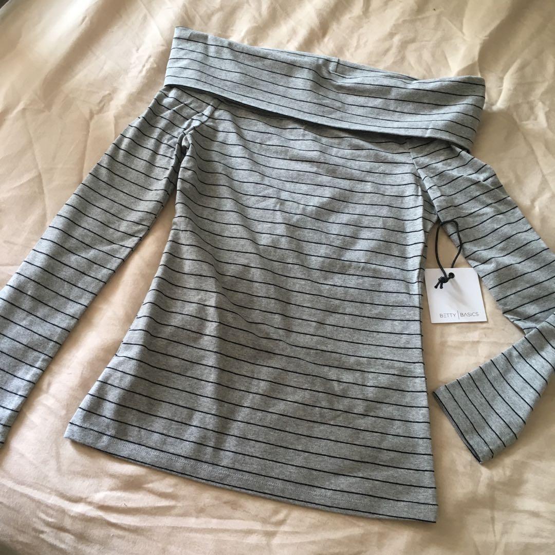 Grey Striped Off-Shoulder Top