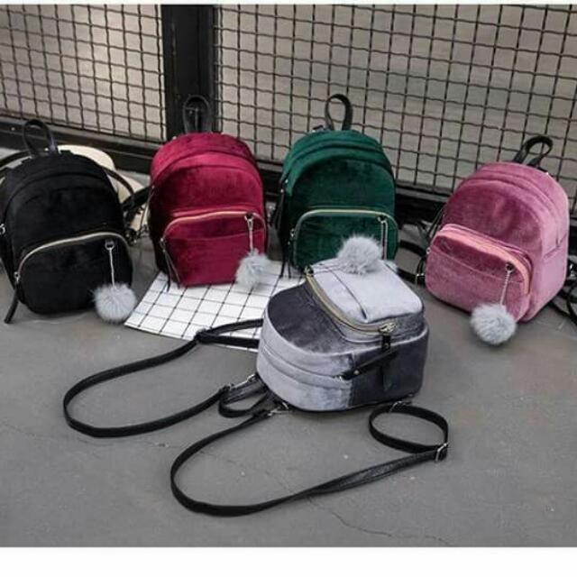 💫Korean Mini velvet backpack