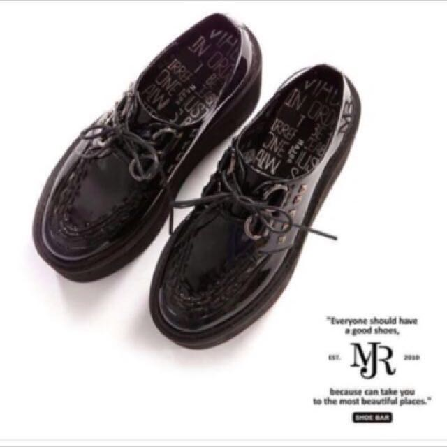 Major made黑色 亮面龐克厚底鞋37