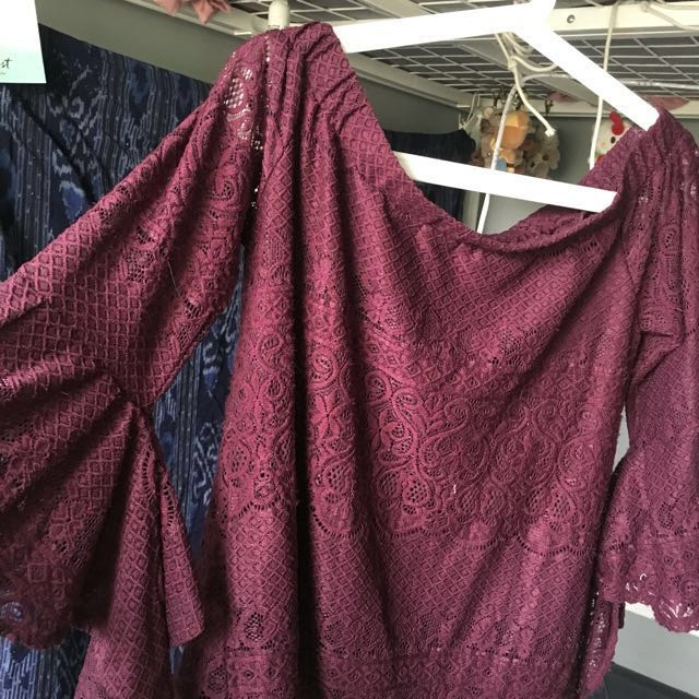 Maroon off the shoulder lace top
