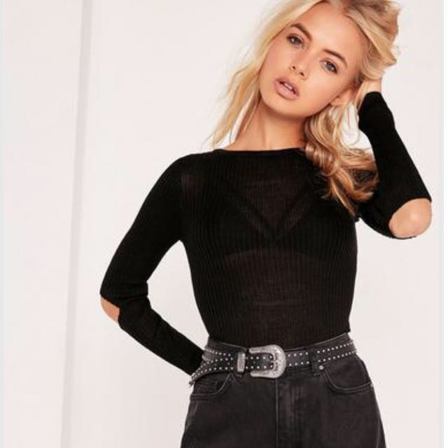 Missguided Long Sleeve Knit with Elbow Cutouts