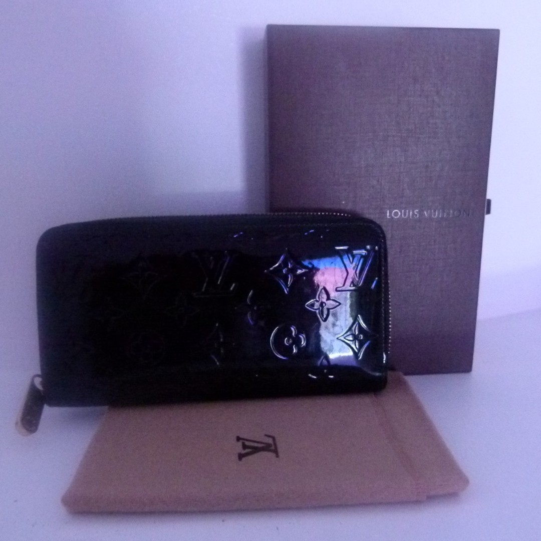 Monogram Vernis black Zippy Louis Vuitton LONG wallet ...