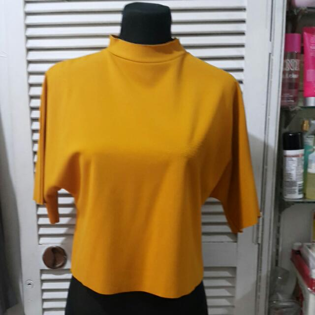 Mustard Cropped Batwing Mock Neck Top
