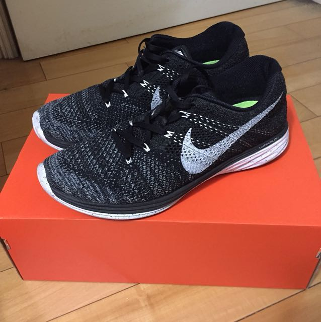 (台灣公司貨)Nike lunar3 黑白雪花 絕版跑鞋10.5