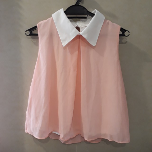 Pink Sleeveless Chiffon Top