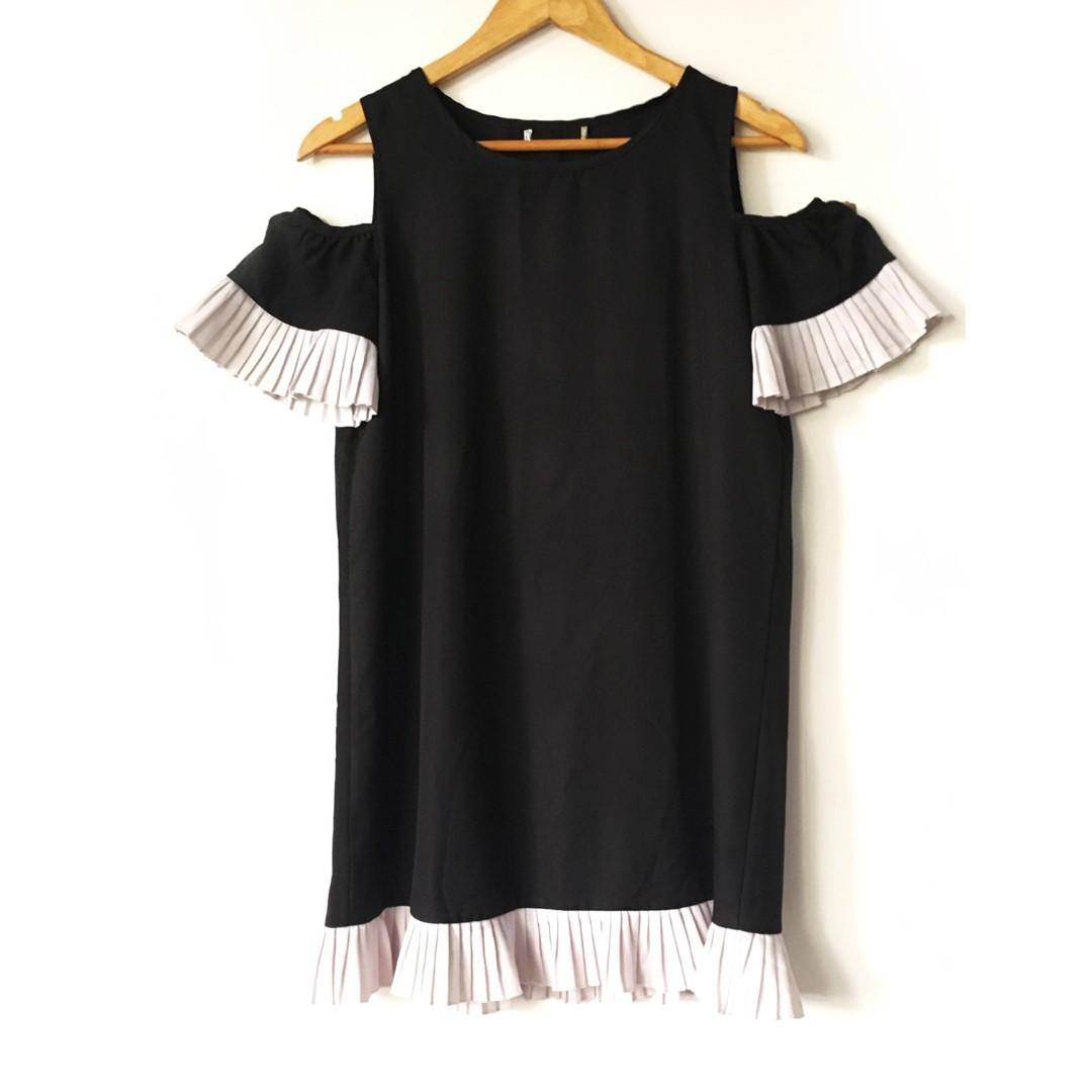 Pleated Black N White Dress
