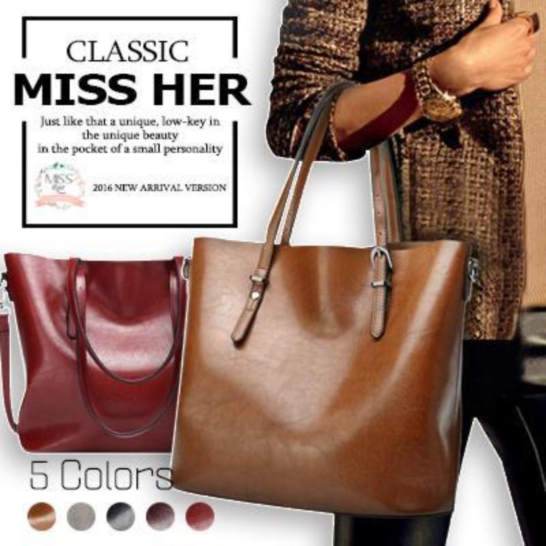 06699a8e5f6 Premium Quality ☆Oil Leather Tote Bag   Lady Bag   Buckle Bag ...