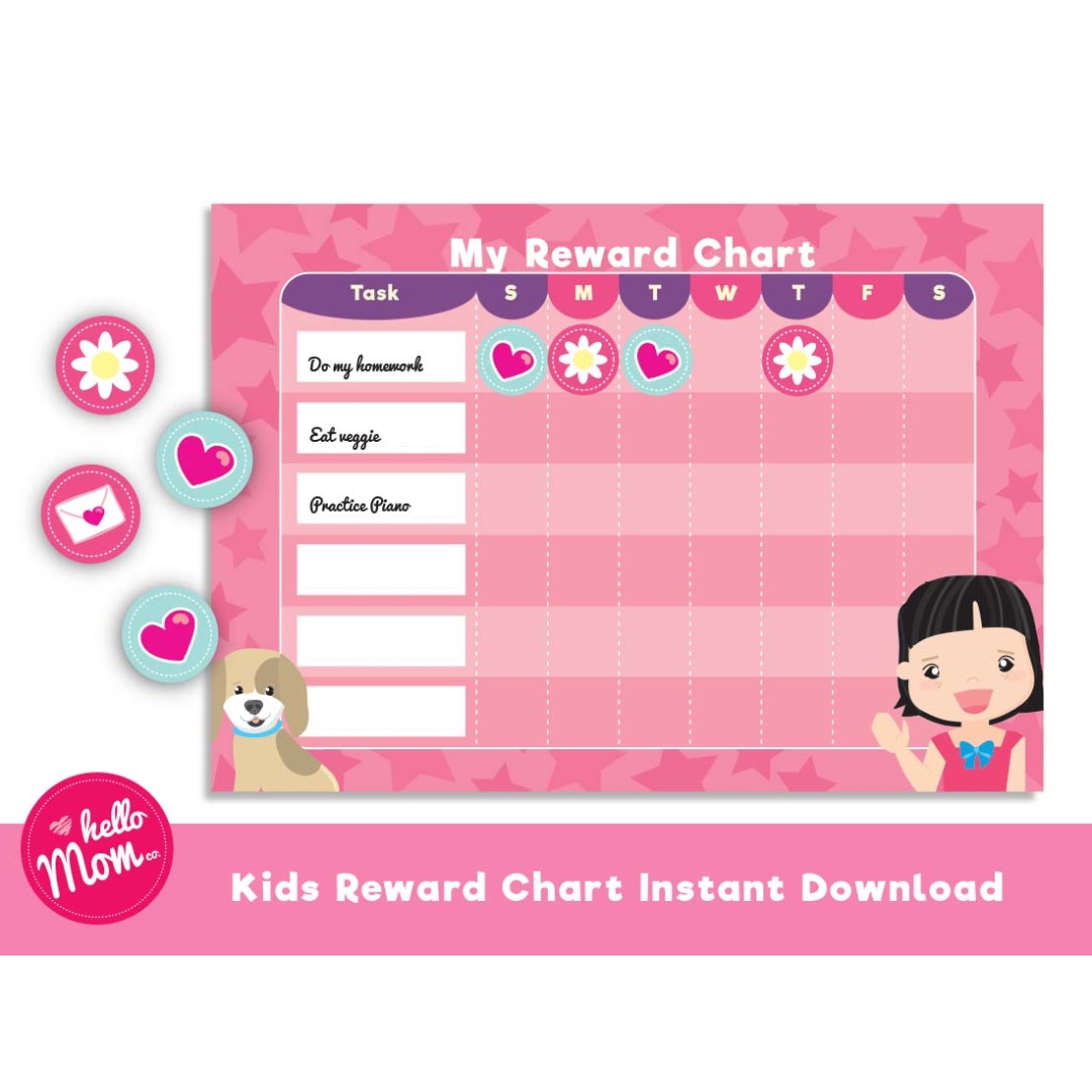 Printable Reward Chart For Girl With Printable Sticker Toys Games