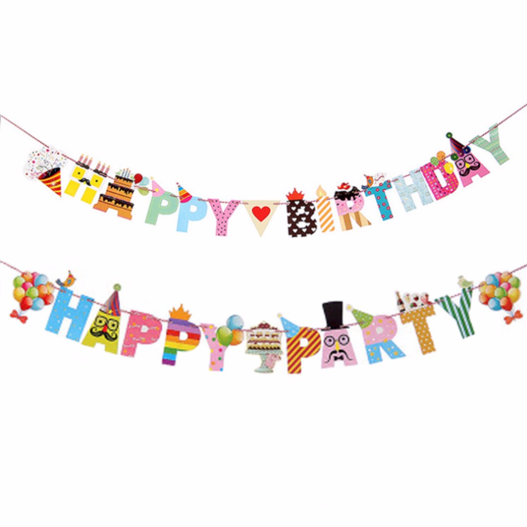(Ready Stock) Mr Mustache Happy Birthday Flag, Hanging Flag / Bunting Flag for