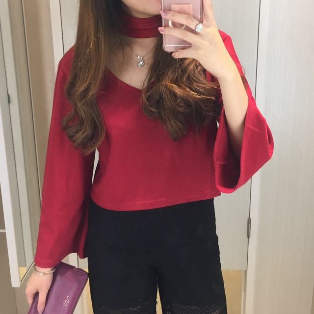 Red Long Sleeve Choker Top