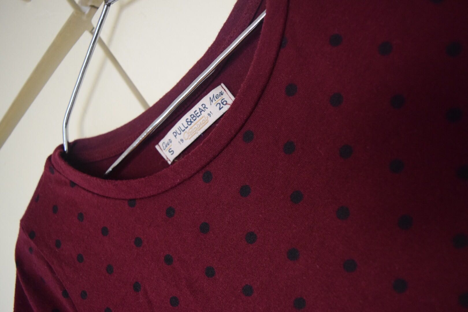 SALE Pull& Bear Maroon Polka T-Shirt