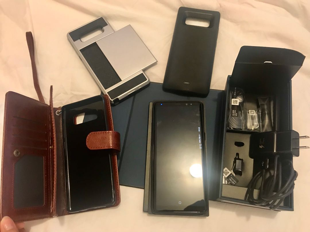 Samsung Galaxy Note 8 with various cases