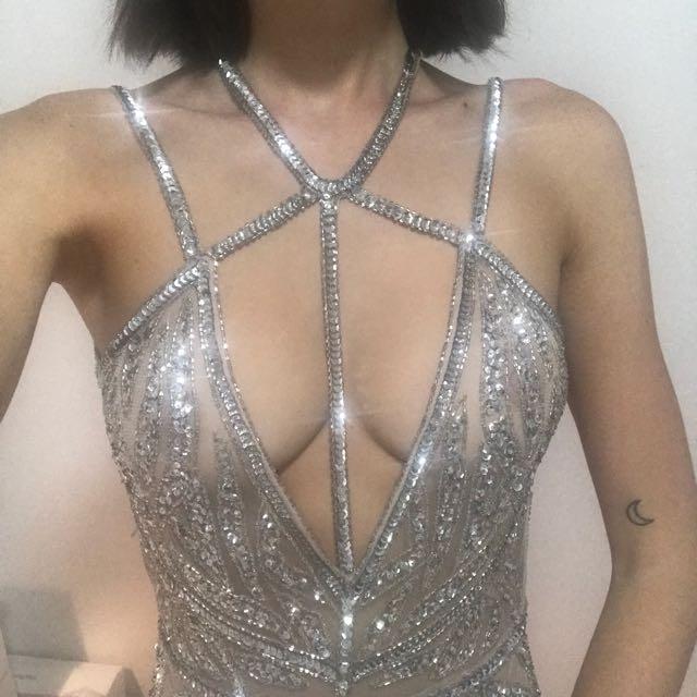 SEXY SEQUIN BEADED SHEER MINI DRESS
