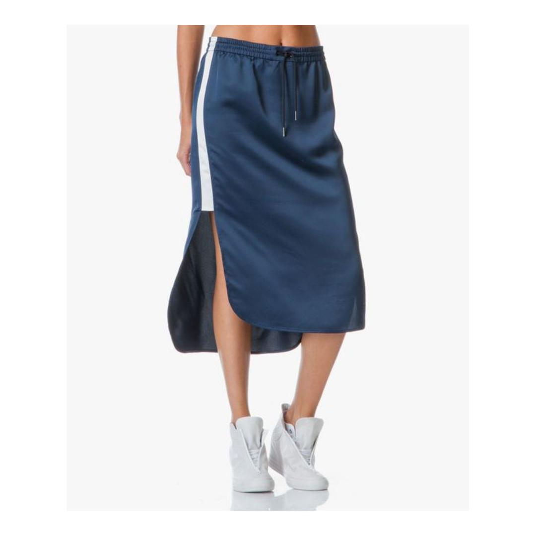 T by Alexander Wang / Size 4 / Satin Skirt Midnight Blue Sporty Long Hi-low high