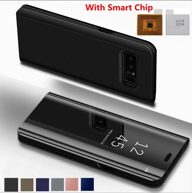 new products 6a8be b8bf6 Touch Flip Stand Case For Samsung Galaxy S8 Plus S6 S7 Edge S6Edge Note8  Note5 Note 5 8 Phone Case Smart Chip Clear View Cover