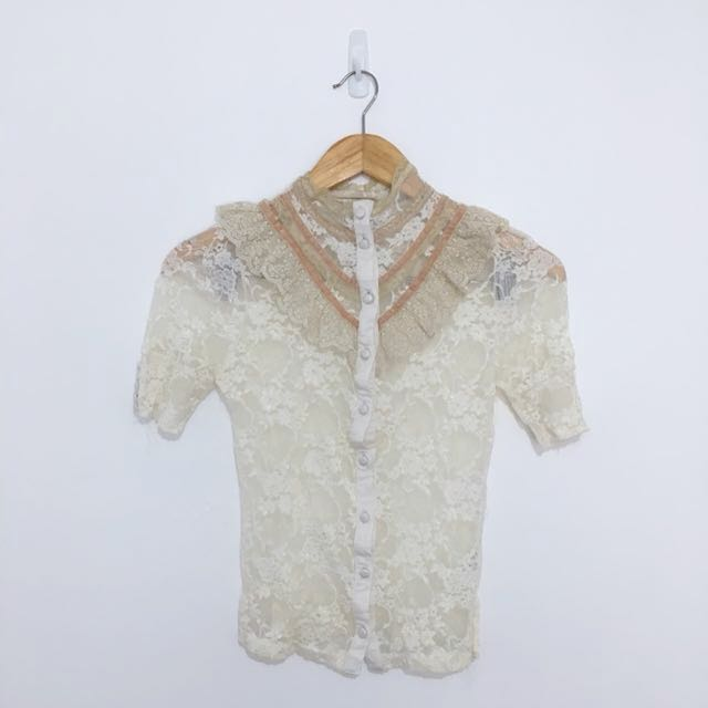 Victorian Lace Button-Up Top