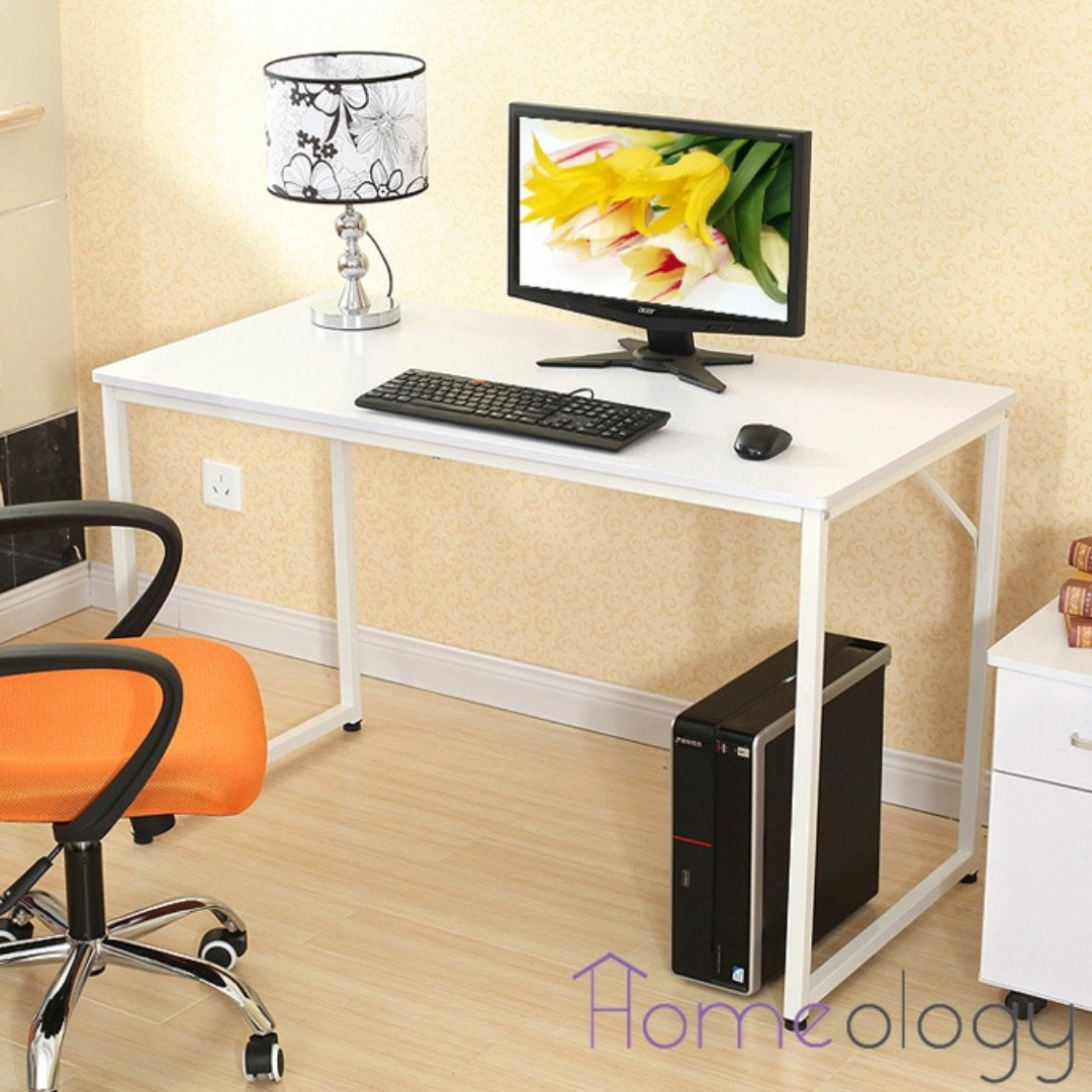 White Modern Study Computer Table Office Study Desk Furniture