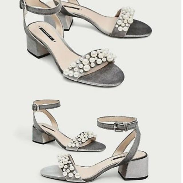 Zara Velvet Block Heel Sandals with Pearls