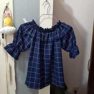 Off shoulder blue checkered top