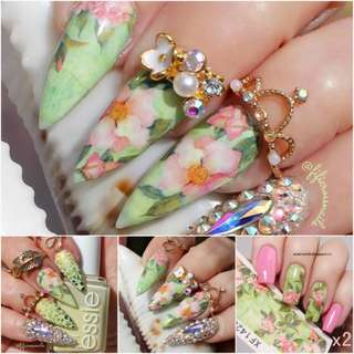 SHARE THIS ITEM:  2 Sheets Water Decal Green Pink Lotus Pattern Manicure Nail Art Transfer Sticker XF1420  # 39508