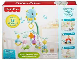 3 in 1 Soothe & Play seahorse mobile