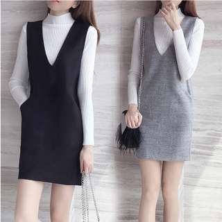 [In-Stock] Korean Dress with Long Sleeves Shirt