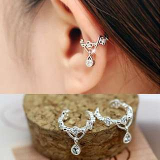 Fashion Ear Cuff Wrap Rhinestone Cartilage Clip On Earring Non Piercing