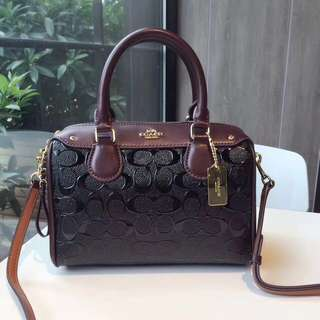 Coach Mini Bennett Satchel in Signature Debossed Patent Leather- Black & maroon