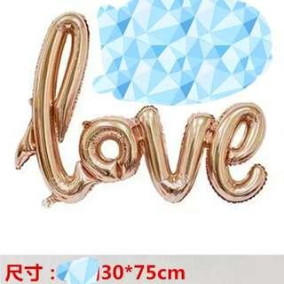 連體香賓色love字鋁膜汽球 婚後物資 攝影道具