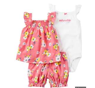 *9M* BN Carter's 3-Piece Bubble Short Set For Baby Girl