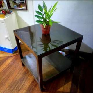 Center or Side Wooden Table with Glass
