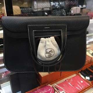 正品 98%新 Hermes Halzan 31 黑色白線5用袋