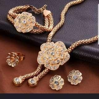 BN Wedding Choker, Bracelet, Earrings and Ring Set