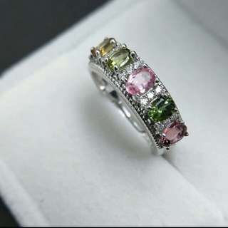 Tourmaline Multi Coloured Natural Gemstone 925 Sterling Silver Ring For Women