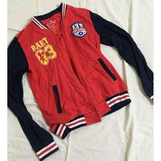 hang ten 紅藍配色棒球外套