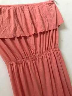Peach tube maxi dress