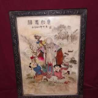 五彩福禄寿石板画