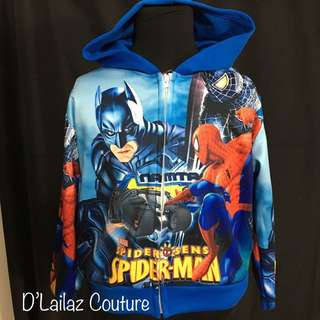 Spiderman Batman Hoodie Jackets Boys Blue Size S & L left!
