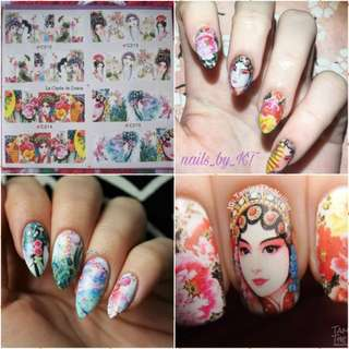 Per Sheet design Opera Actress Water Decals Beautiful Player Pattern Nail Art Transfers Stickers