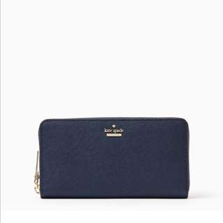 SALE Kate Spade Cameron Street Lacey Continental Long Zip Wallet Twilight Navy Blue