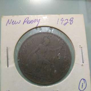 England New Penny Year 1927