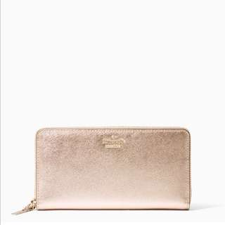 SALE Kate Spade Cameron Street Lacey Continental Long Wallet Zip Rose Gold