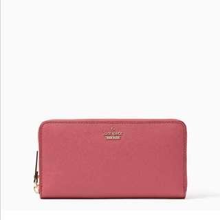 SALE Kate Spade Cameron Street Lacey Continental Long Wallet Zip Cinnabar Red