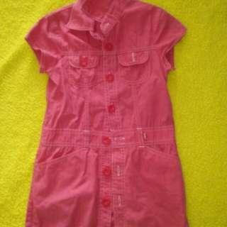 dress pink full kancing