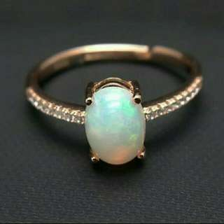 Opal Natural Gemstone 925 Sterling Silver Ring For Ladies